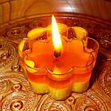 Восковая чайная свеча Цветок 30г в пластиковом прозрачном контейнере; натурального пчелиный воск, фото 7