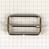 Регулятор пряжка перетяжка 35 мм никель для сумок t4187 (20 шт.), фото 2