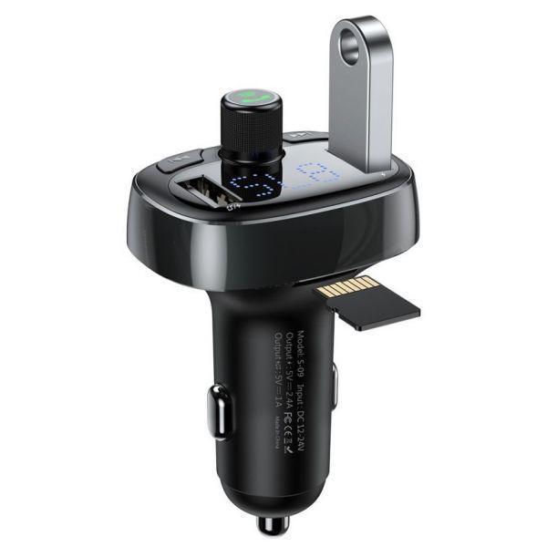 Универсальное автомобильное ЗУ Baseus T Typed (FM, BT, MP3) Черный CCALL-TM