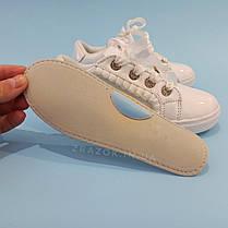 Білі кросівки з бантиком кеди з бантом лакові туфлі зі стрічками з супінатором на дівчинку, фото 3