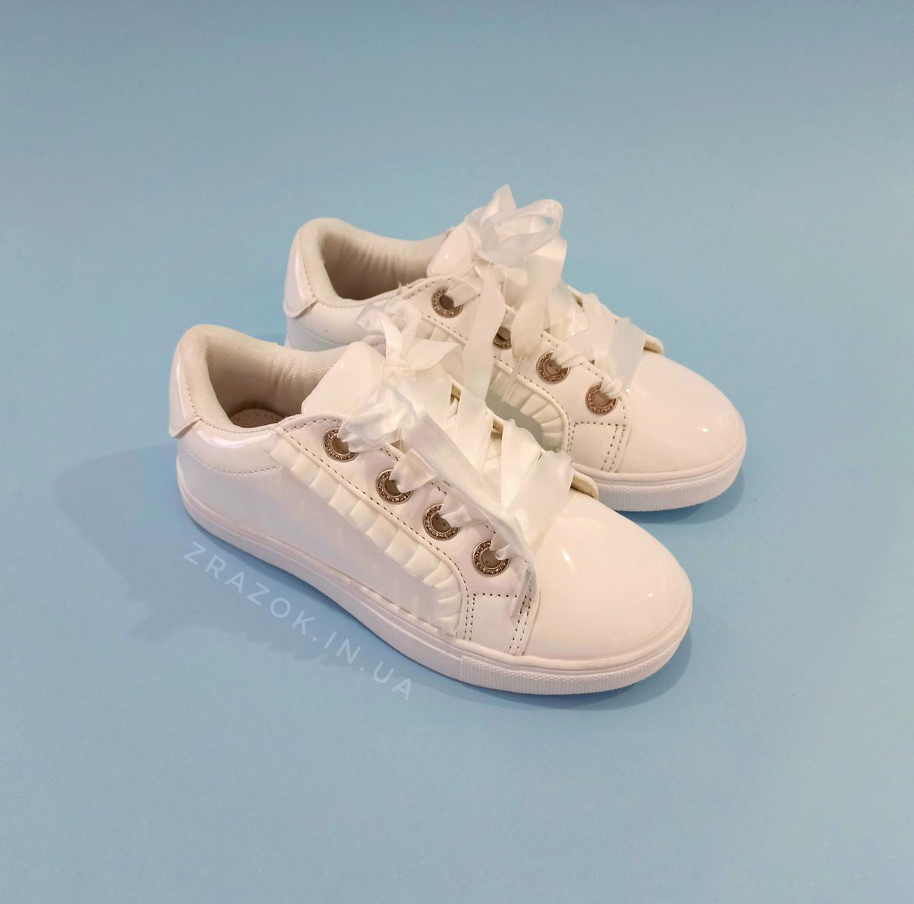 Білі кросівки з бантиком кеди з бантом лакові туфлі зі стрічками з супінатором на дівчинку