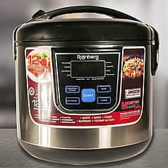 Многофункциональная мультиварка пароварка рисоварка йогуртница Rainberg RB-801, 12 программы, 6 литров