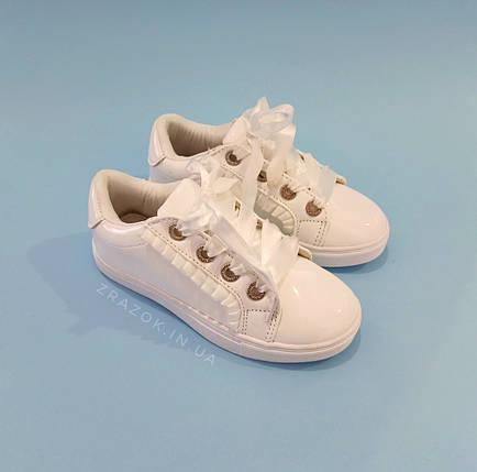 Білі кросівки з бантиком кеди з бантом лакові туфлі зі стрічками з супінатором на дівчинку, фото 2