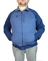 Кофта мужская  ADIDAS на замке,на молнии,мужской худи,большого размера 56-58-60-62 синий с индиго,реплика