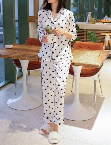"Пижама белая ""Сердечки"" длинный рукав+штаны - 324-05-2, фото 2"