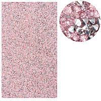 Коврик для маникюра силиконовый со стразами, розовое серебро