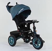 Детский трёхколёсный велосипед 9500 - 7474 Best Trike Голубой, поворотное сиденье, складной руль, пульт