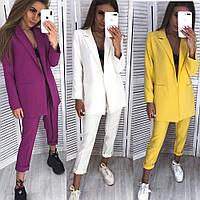 Костюм брючный женский, пиджак и брюки, офисный, повседневный, модный, стильный, цвета в ассортименте, фото 1