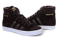 Кроссовки мужские Adidas AdiTennis High Fur, зимние кроссовки адидас адитеннис хай фур коричневые на меху