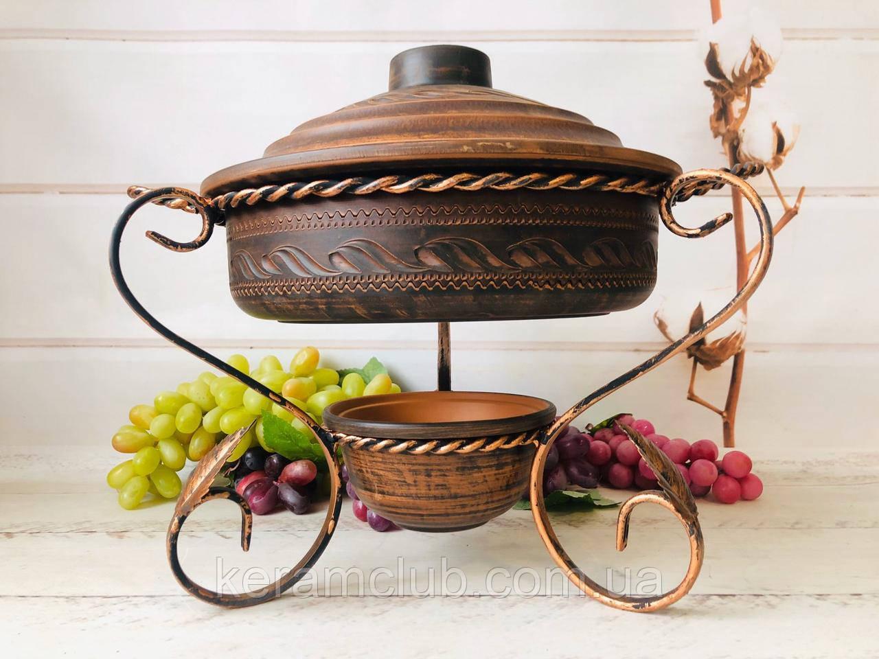 Садж для подачи шашлыка с жаровней из красной глины 3 л