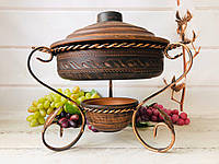 Садж для подачи шашлыка с жаровней из красной глины 3 л, фото 1