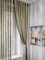 Шторы нити Радуга Дождь с люрексом Шампань, Бежевый, Венге, фото 1