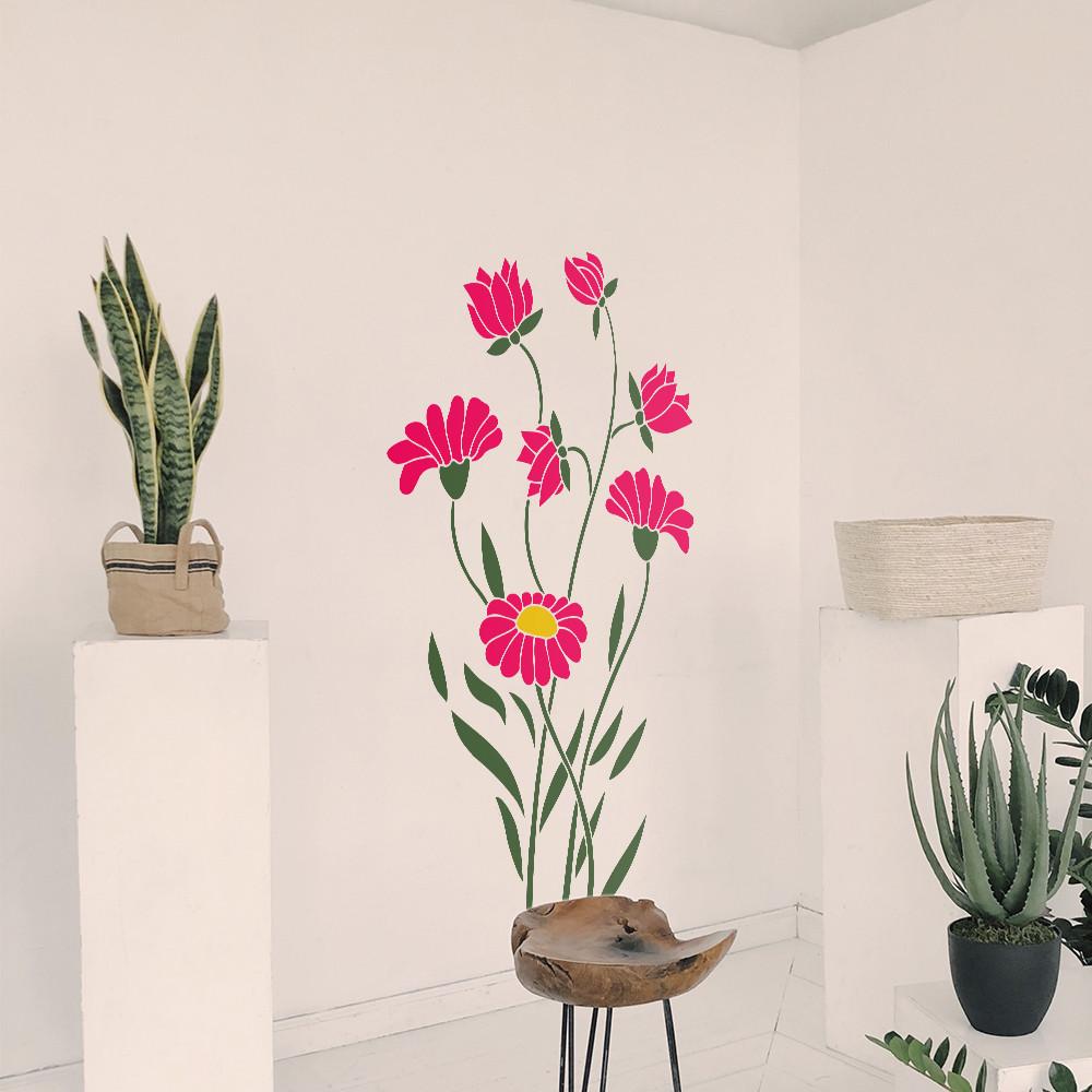 Трафарет цветы ромашки на стену в гостиную, спальню, прихожую 160 х 95 см