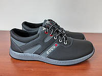 Чоловічі туфлі спортивні чорні прошиті зручні (код 1107), фото 1