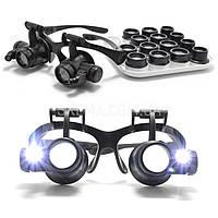 Бинокулярные очки-лупы Magnifier №9892G8KX (8 пар линз) c Led подсветкой