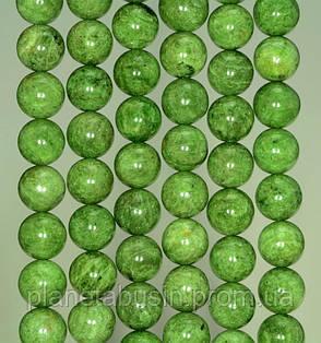 10 мм Диопсид, Натуральный камень, Форма: Шар, Отверстие: 1-1.5 мм, кол-во: 38-40 шт/нить, фото 2