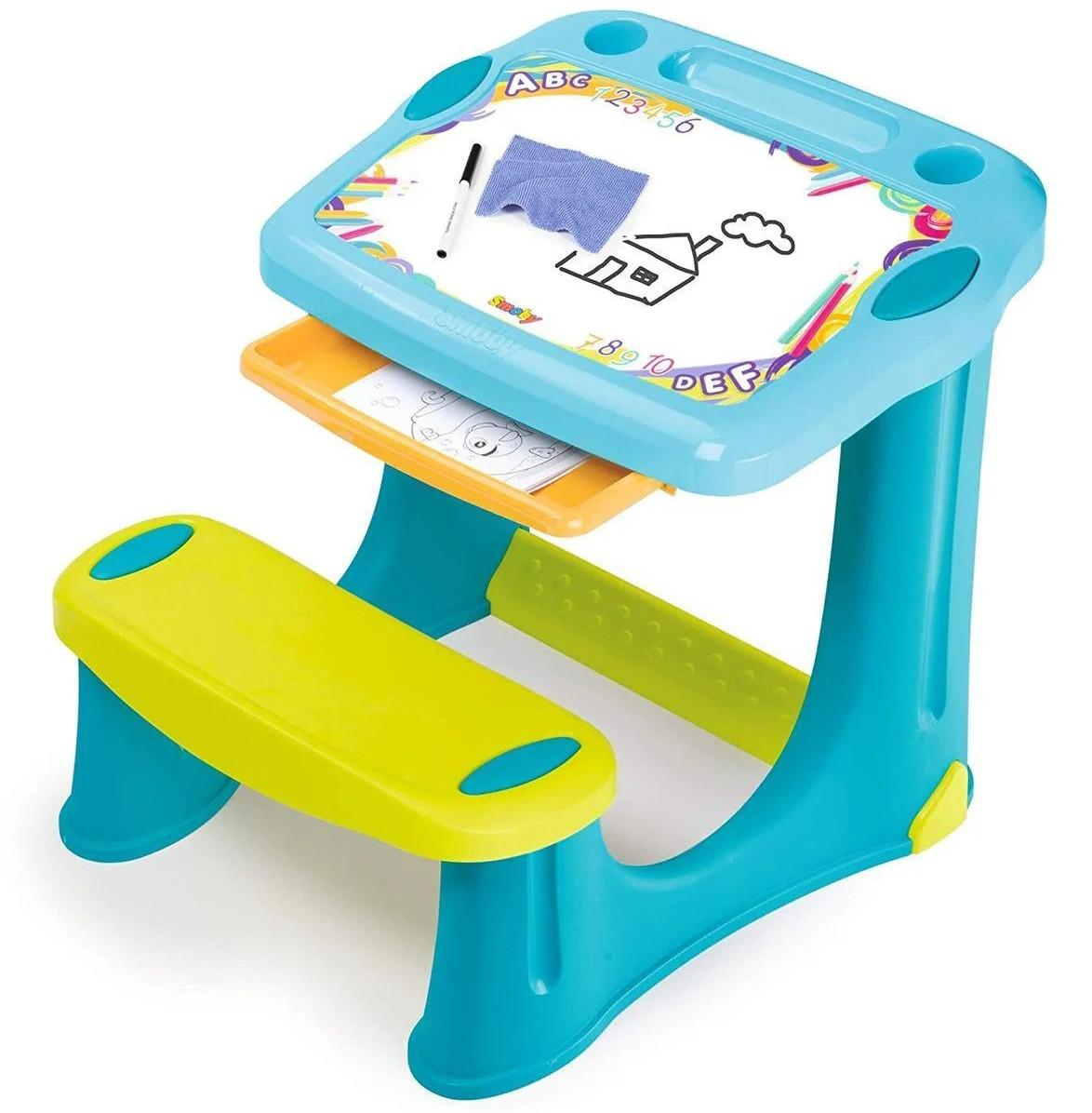 """Дитяча пластикова парта-мольберт з висувним ящиком """"Магічна"""" Smoby 420218 для дітей"""