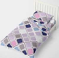 Полуторное постельное белье HalfTones, комплект цветной 160*220см, ранфорс, хлопок, Ромбики