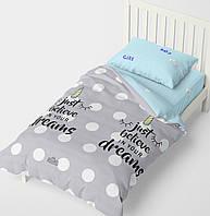 Полуторное постельное белье HalfTones, 160*220см, бязь, хлопок , Единорог голубой с серым