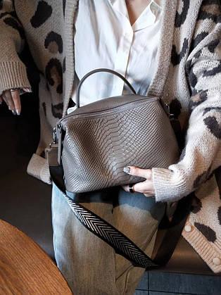 Кожаная женская сумка из натуральной кожи с двумя ремешками. Сумочка из натуральной кожи под крокодила (серая)