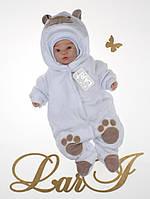 """Зимний комбинезон """"Лапы панды""""  для новорожденного на махровой подкладке, фото 1"""