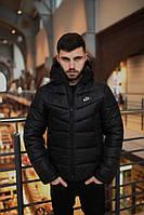 Куртка мужская демисезонная черная, пуховик мужской черный