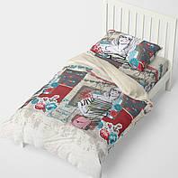Полуторное постельное белье HalfTones, полуторный комплект постельного белья, 160*220см, бязь, хлопок, бежевый