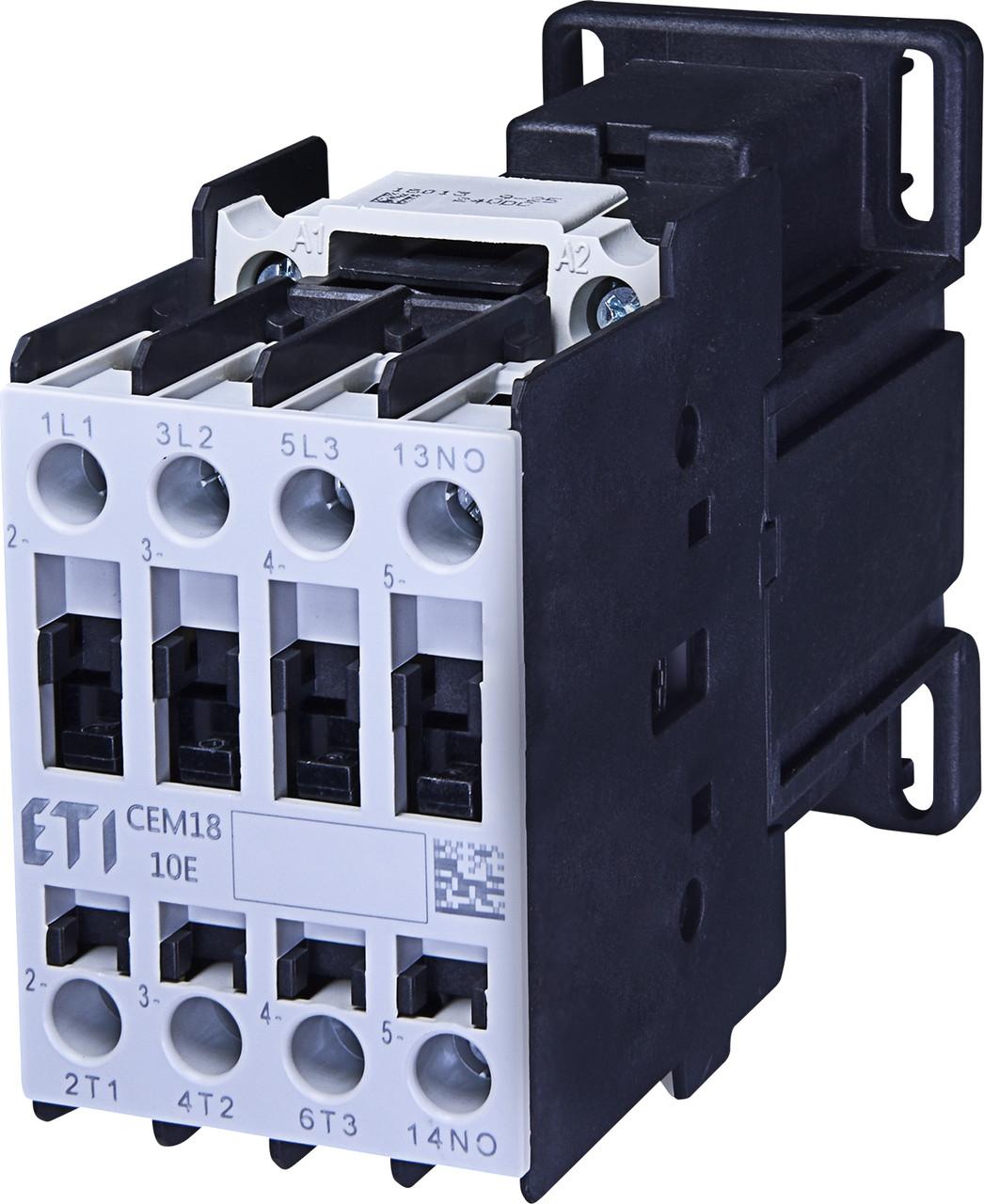 Контактор силовой ETI CEM 18.10 18А 24V DC 3NO+1NO 7.5kW 464220 (на DIN-рейку, 32A AC1, 18A AC3)
