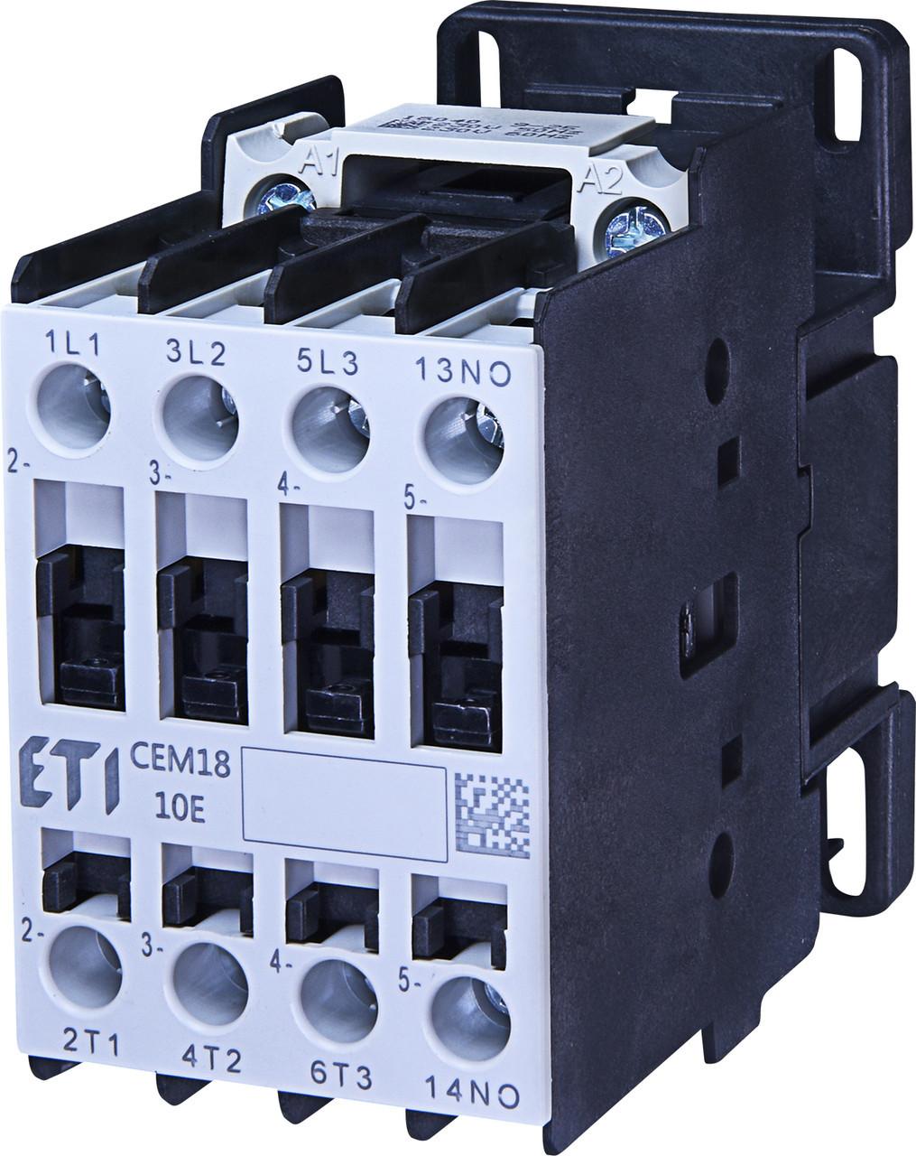 Контактор силовой ETI CEM 18.01 18А 230V AC 3NO+1NC 7.5kW 4644113 (на DIN-рейку, 32A AC1, 18A AC3)