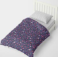 Подростковый комплект постельного белья HalfTones, односпальный набор, хлопок, 160*220см на молнии, фиолетовый