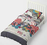 Полуторное постельное белье HalfTones, хлопок, 160*220см, бязь, разноцветный, для девочки, Love