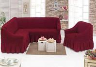 Чехол на угловой диван +1 кресло Altinkoza 125609424 Бордо