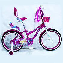Детский двухколесный велосипед для девочки с корзинкой Flora фиолетовый 18 дюймов