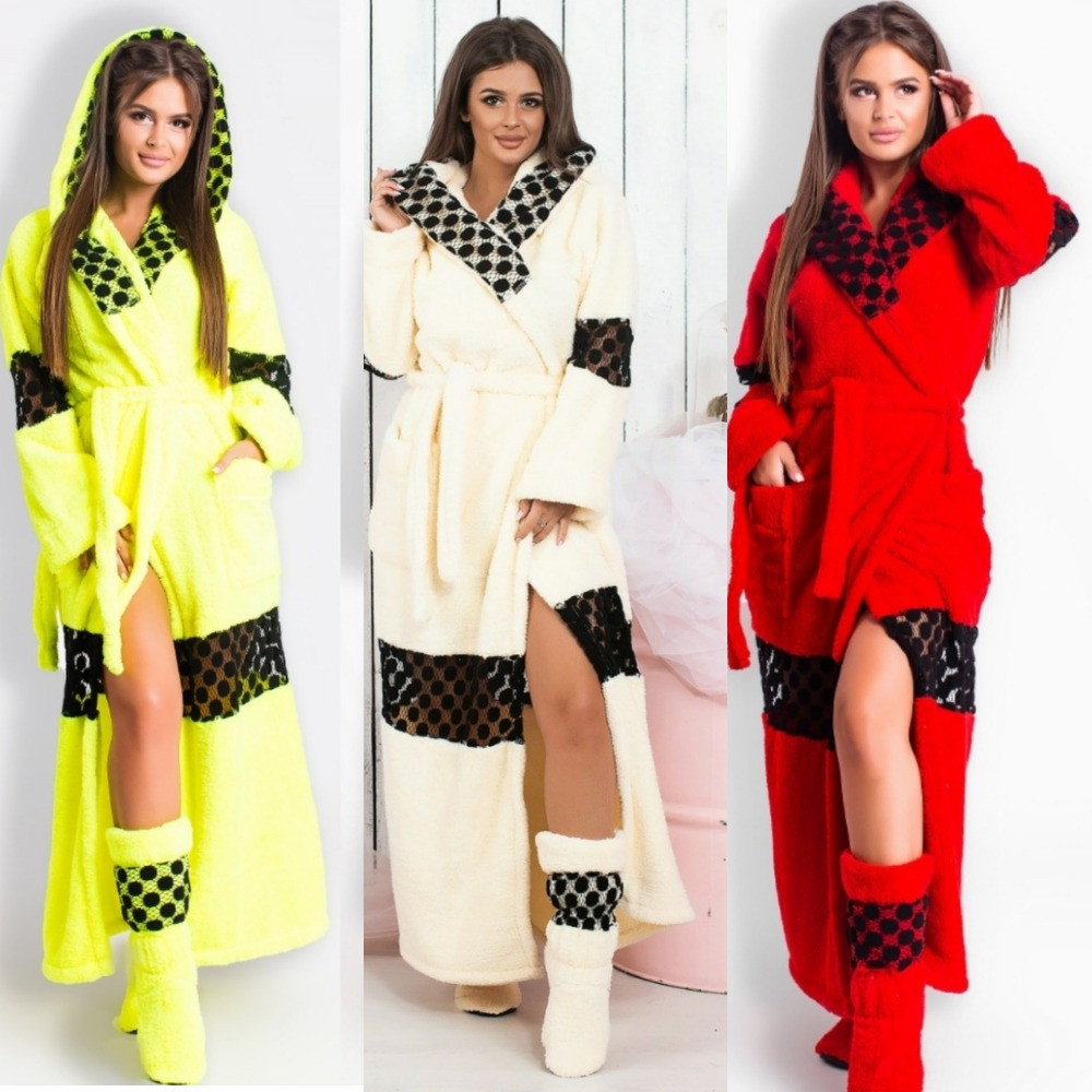 Набор женский, банный, теплый, халат махровый, длинный с кружевной вставкой, с капюшоном и сапожки
