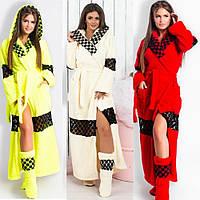 Набор женский, банный, теплый, халат махровый, длинный с кружевной вставкой, с капюшоном и сапожки, фото 1