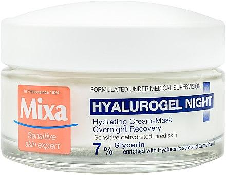 Ночной крем-маска для увлажнения и восстановления чувствительной кожи лица - Mixa Hyalurogel Hyalurogel Night Hydrating Cream-Mask 50ml