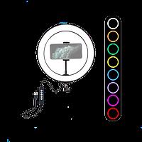 Кольцевая лампа для блогеров (RGBW 8 цветов освещение) 26 см. диаметр