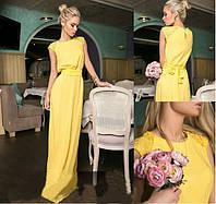 """Платье длинное с поясом на талии """"Аурика"""" без рукавов желтое"""