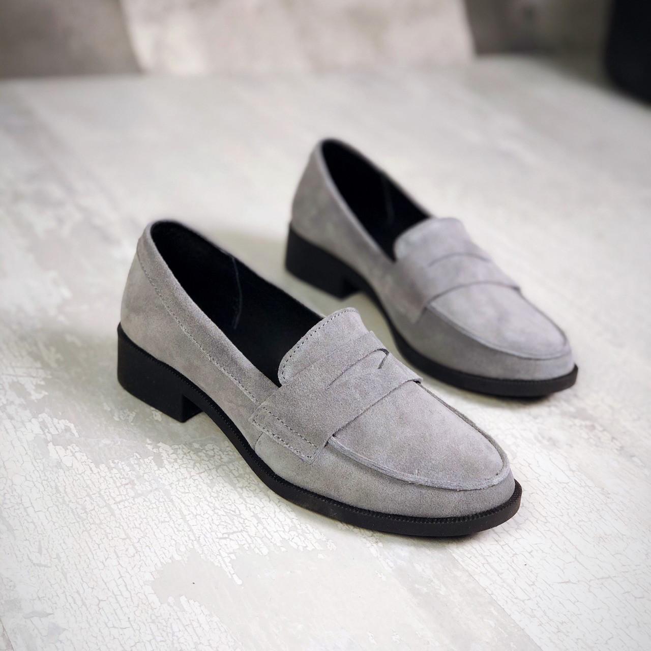 Замшевые туфли лоферы 35-41 р серый