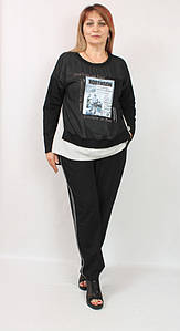 Турецкий женский брючный костюм с асимметричной туникой, размеры 50-56