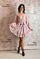 Женское платье из прессованного льна и люрекса Poliit 8700