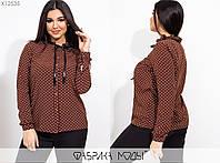 Женская блуза прямого кроя с длинным рукавом больших размеров 50 - 60