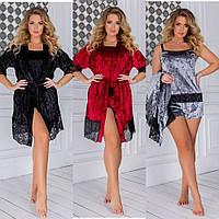 Комплект 3-ка женский, велюровый, халат и пижама с шортами, с кружевами, модный, стильный, от 42 до 56 р-ра