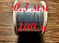 Струна, проволока из нержавеющей стали для электростатики AISI 316 д.0.3мм - 100 метров