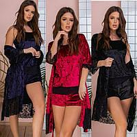 Комплект 3-ка женский, велюровый, халат + пижама, топ и шорты с кружевами, модный, стильный, от 42 до 56 р-ра