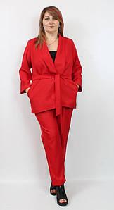 Турецкий классический женский брючный костюм красного цвета, размеры 50-56