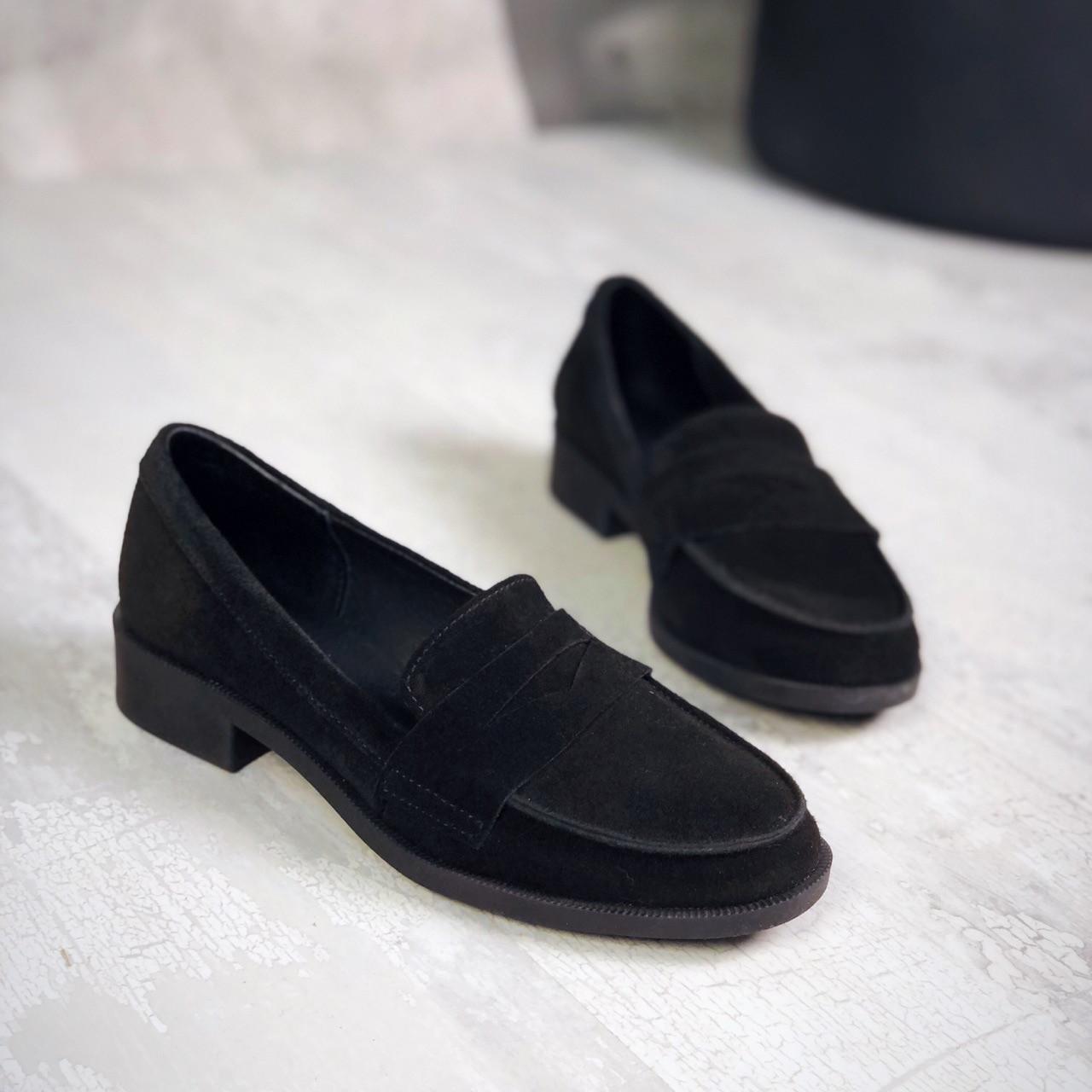 Туфли лоферы из натурального замша 35-41 р чёрный