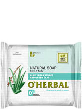Натуральне мило з екстрактом алое віра і зеленої глини 100 г O Herbal арт.3556