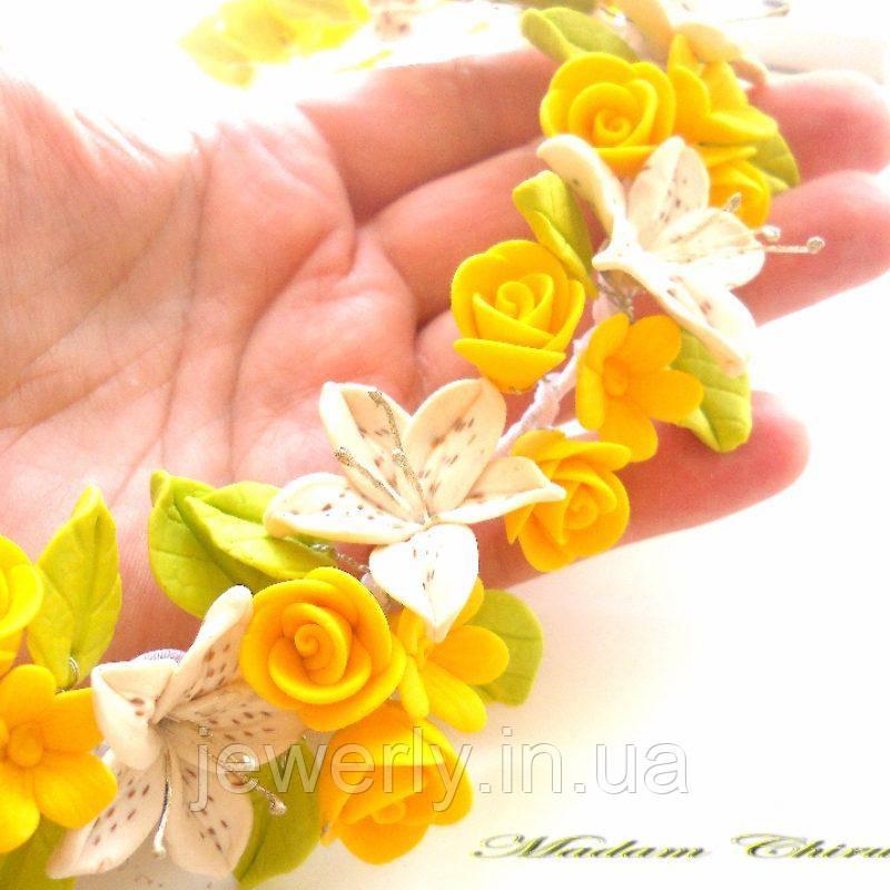 Колье с желтыми розами Дарю веснушки