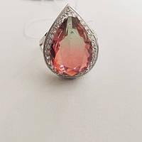 Кольцо из серебра родированное с большим цирконием Дерика